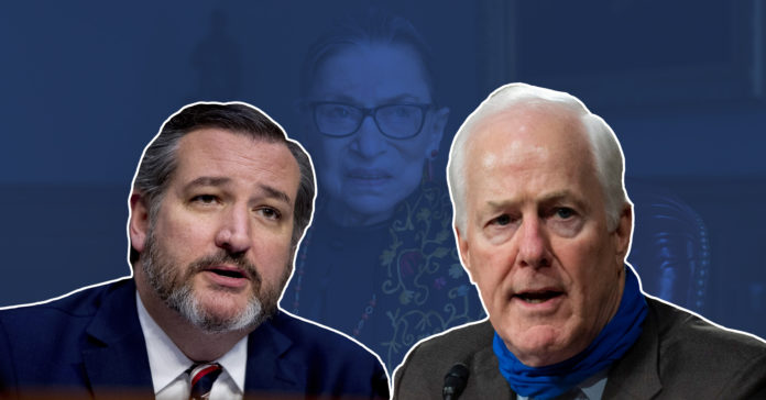 Cruz Cornyn support doing supreme court justice